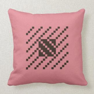 Black on Rose Twill Pattern Throw Pillow