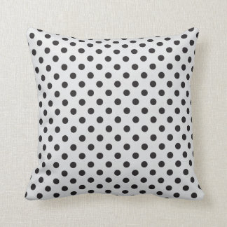 Black on Soft Gray Polka Dots Throw Pillow