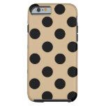 Black on Tan Polka Dot Design Tough iPhone 6 Case