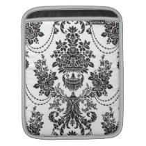 Black On White Baroque Floral Swirls Pattern Sleeve For iPads