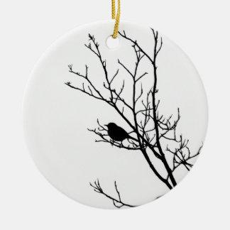 Black On White Bird Silhouette - Ceramic Ornament