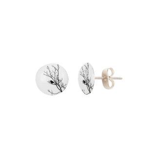 Black On White Bird Silhouette - Earrings