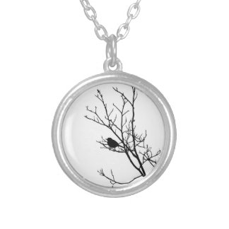 Black On White Bird Silhouette - Silver Plated Necklace