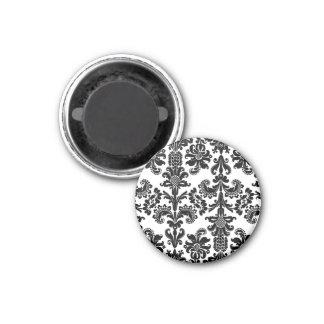 Black on White Brocade Magnet