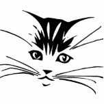 Black on White Cat Outline Acrylic Cut Outs