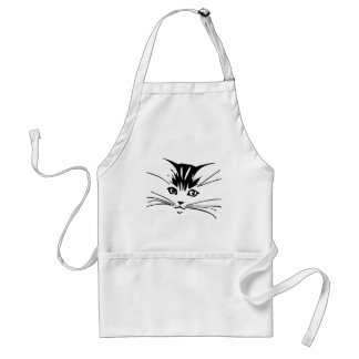 Black on White Cat Outline Adult Apron