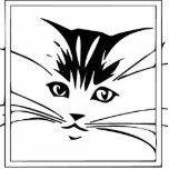 Black on White Cat Outline Photo Sculpture