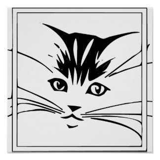 Black on White Cat Outline Poster