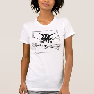 Black on White Cat Outline T-Shirt