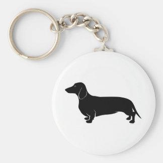 Black on White Dachsund Basic Round Button Keychain