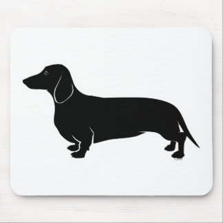 Black on White Dachsund Mouse Pad