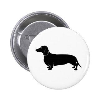 Black on White Dachsund Pinback Button