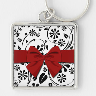 Black on White Daisy Flower Pattern Keychain