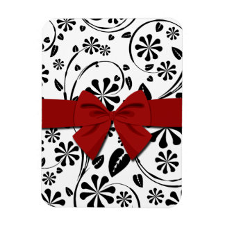 Black on White Daisy Flower Pattern Rectangular Magnet