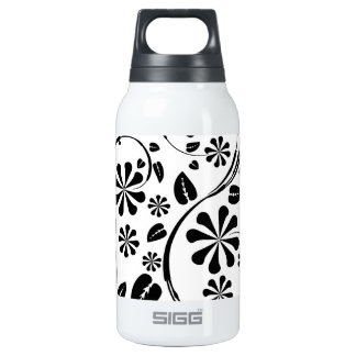 Black on White Daisy Flower Pattern 10 Oz Insulated SIGG Thermos Water Bottle