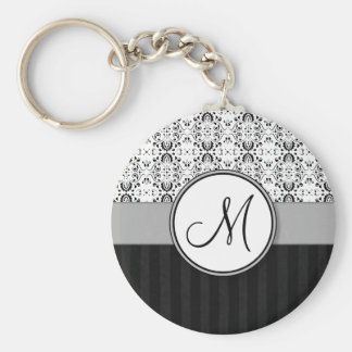 Black on White Damask and Stripes with Monogram Basic Round Button Keychain