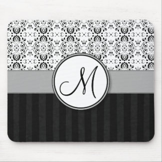 Black on White Damask and Stripes with Monogram Mouse Pad