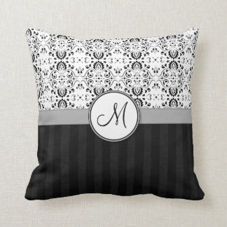 Black on White Damask and Stripes with Monogram Throw Pillow