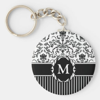 Black on White Damask Basic Round Button Keychain