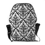 Black on White Damask Floral Courier Bag