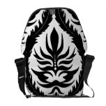 Black on White Damask Floral Courier Bags