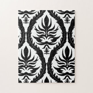 Black on White Damask Floral Jigsaw Puzzle