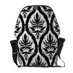 Black on White Damask Floral Messenger Bags