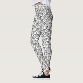Black on White Damask Leggings