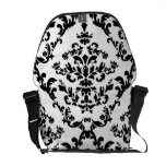 Black on White Damask Pattern Courier Bags