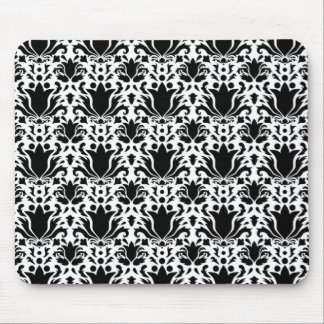 Black on White Damask pattern Mouse Pad