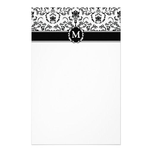 Black on White Damask Stationery Design