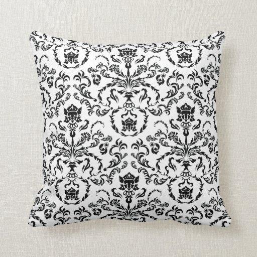 Damask Throw Pillows Black White : Black on White Damask Throw Pillow Zazzle