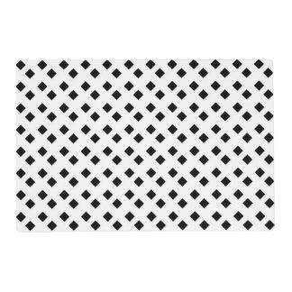 Black on White Diamond Design Laminated Placemat