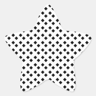 Black on White Diamond Design Star Sticker