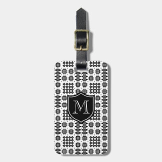 Black on White Faux Welsh Tapestry Monogram Luggage Tag