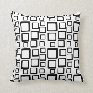 Mod Look Geometric Square Pattern Black and White Toss Pillow