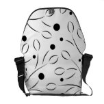 Black on White Floral Pattern Commuter Bags