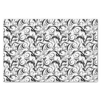 "Black on White Floral Wisps, Stripes & Monogram 10"" X 15"" Tissue Paper"