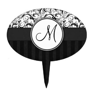 Black on White Floral Wisps, Stripes & Monogram Cake Picks