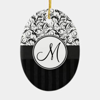 Black on White Floral Wisps, Stripes & Monogram Ceramic Ornament