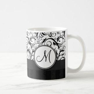 Black on White Floral Wisps, Stripes & Monogram Classic White Coffee Mug