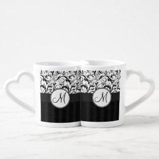 Black on White Floral Wisps, Stripes & Monogram Coffee Mug Set