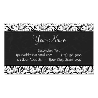 Black on White Floral Wisps, Stripes & Monogram Double-Sided Standard Business Cards (Pack Of 100)