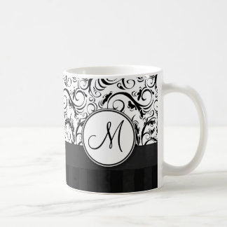 Black on White Floral Wisps Stripes Monogram Coffee Mugs