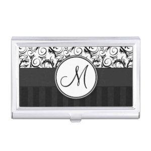 Black on White Floral Wisps, Stripes & Monogram Case For Business Cards