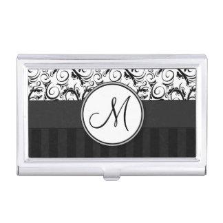 Black on White Floral Wisps, Stripes & Monogram Business Card Holder