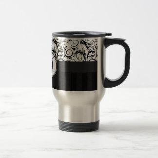 Black on White Floral Wisps, Stripes & Monogram Travel Mug