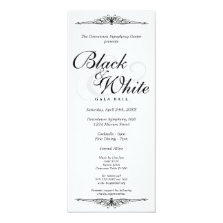 Black on white gala ball dance corporate long card
