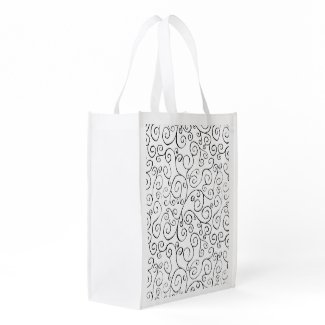 Black on White Hand-Painted Curvy Pattern Reusable Grocery Bags