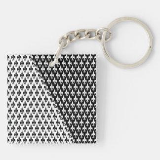 Black on White or White on Black Double-Sided Square Acrylic Keychain